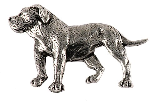 Creative Pewter Designs, Pewter Full Body American Bulldog Handcrafted Dog Lapel Pin Brooch, Antiqued Finish, (Pewter Lapel Dog Pin)