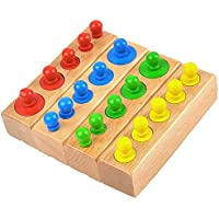 SN Toy Zone Wooden Montessori Cylinder Blocks Colorful Educational Toys