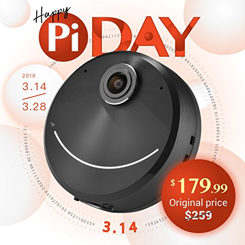 Happy Pi Day 2018 Pi Solo 360 4K Camera, Perfect Selfie, Super-Wide Angle and Creative AR Planet Effects, Portable – Black