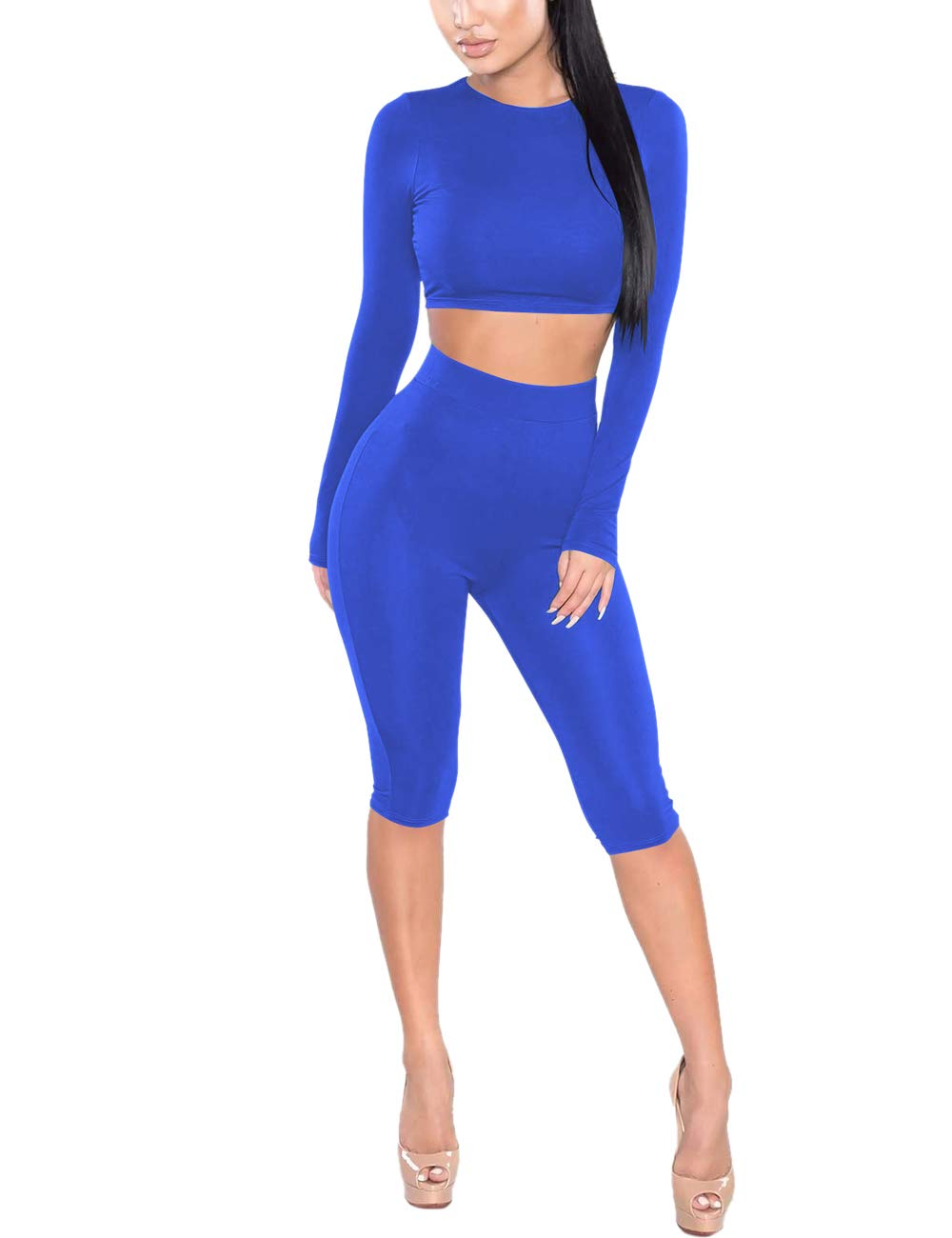 Amilia Womens Sexy Long Sleeve Crop Tops High Waist Leggings 2 Piece Bodycon Set Casual Outfit Tracksuit (M, Royal Blue)