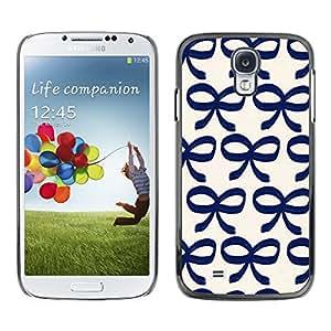 Paccase / SLIM PC / Aliminium Casa Carcasa Funda Case Cover para - Bow Bowtie Blue White Pattern Clean - Samsung Galaxy S4 I9500