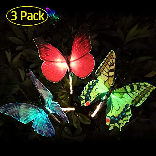 - GoLine Butterfly Garden Solar Lights Outdoor, 3 Pack LED Color Changing Stake Lights, Solar Powered Optic Fiber Decorative Lighting, Yard Art, Garden Decorations, Housewarming Gifts.