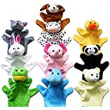 BESTOE 6 Plush Velour Animal Hand Puppets