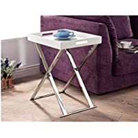 Accent Table with Traditional Square Shape Made with Chrome Contruction in White Finish