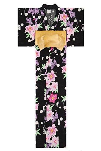 Free Butterflies Patterns (KimonoMode24 Women's Japanese Yukata And Easy Wearing Obi Set/ Flower and Butterfly Pattern Free Size Black)