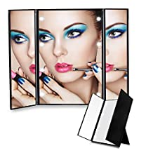 Bigear Lighted Makeup Mirror, Trifold Lighted Portable Travel Cosmetic Mirror Battery Electric Makeup Mirror with LED Lights