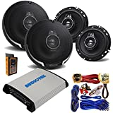 "(4) Kenwood KFC-1695PS 320W 6.5"" 3-Way Speakers with 4 Channel 1000W Stereo Power Car Amplifier + Amp Kit"