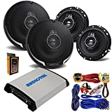 (4) Kenwood KFC-1695PS 320W 6.5' 3-Way Speakers with 4 Channel 1000W Stereo Power Car Amplifier + Amp Kit
