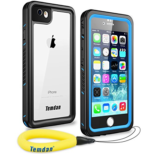 Temdan 33ft/10m Deep Floatable Waterproof Case for iPhone 6/6s(4.7inch) with Kick Stand and Float Strap-Blue/Clear