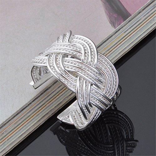 Wiftly Femme Bagues Retro en largeur creux style ethnique Réticulocytes anneau Argent Anneau Hypoallergénique anneau de la queue Réglable