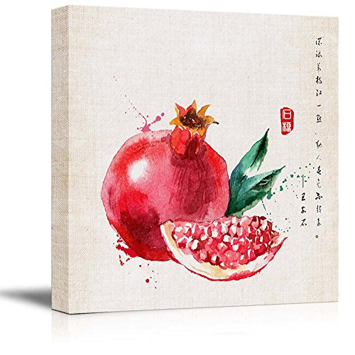 Square Watercolor Style Chinese Painting of a Red Pomegranate and Seeds