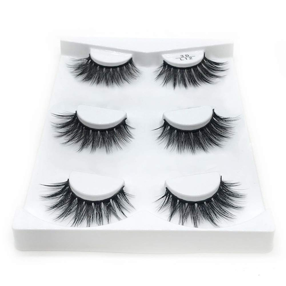 feaf173bd0f Amazon.com : Eyelashes, 3 Pairs Reusable Lashes Handmade 3d Mink Lashes  Natural Thick Fluffy Flase Eyelashes : Beauty