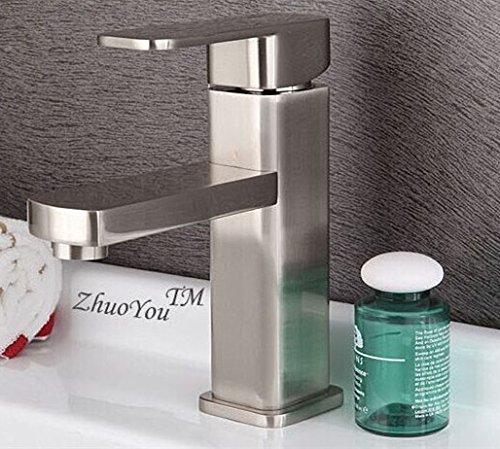 ETERNAL QUALITY Badezimmer Waschbecken Wasserhahn Messing Hahn Waschraum Mischer Mischbatterie Tippen Sie gebürstet Warmes und Kaltes Wasser Waschtischmischer Quartett Ei