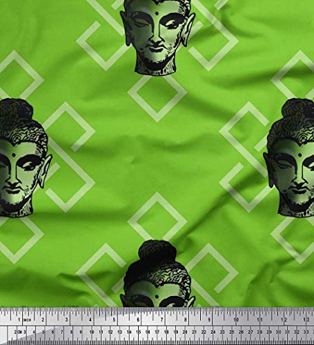 Soimoi Green Cotton Voile Fabric Geometric Design & Lord Buddha Face Printed Craft Fabric by The Yard 42 Inch Wide (By The Buddha Yard Fabric Cotton)