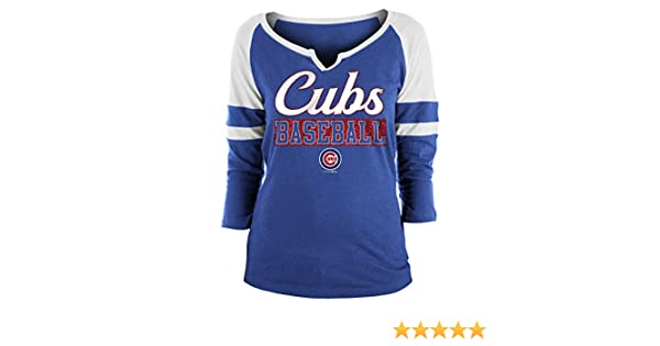 958802da22b Amazon.com : New Era Chicago Cubs Ladies Slub Jersey 3/4 Sleeve Raglan Split  Scoop T-Shirt X-Small : Sports & Outdoors