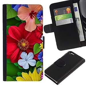 All Phone Most Case / Oferta Especial Cáscara Funda de cuero Monedero Cubierta de proteccion Caso / Wallet Case for Apple Iphone 6 // Floral Spring Colorful Blossom Red Flowers