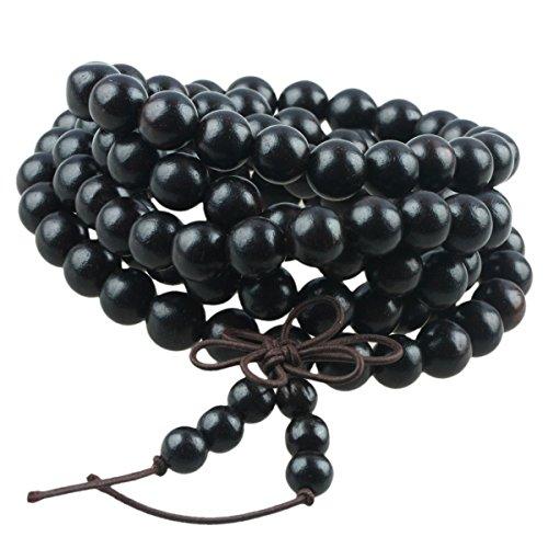 SUNYIK Black Ebony Wood 108 Tibetan Buddhist Mala Bracelet Beaded Prayer Bead(8mm)