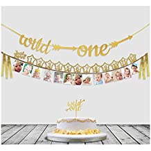 Baby's 1st Birthday Decorations with 12 Month Photo Banners,Wild One Birthday Banners,Wild One Cupcake Topper,The Wild One Party Supplies