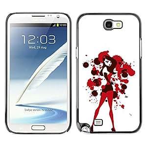 GOODTHINGS Funda Imagen Diseño Carcasa Tapa Trasera Negro Cover Skin Case para Samsung Note 2 N7100 - chica sexy conejito blanco rojo sangre