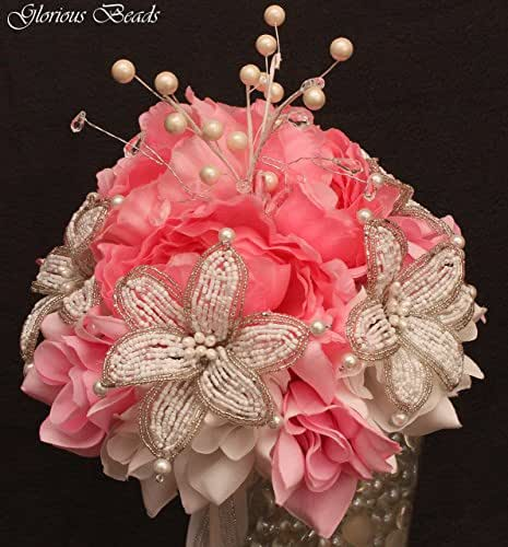 pink beaded lily wedding bridal bouquet pink and white with peonies and roses. Black Bedroom Furniture Sets. Home Design Ideas