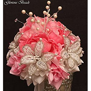 Pink Beaded Lily Wedding BRIDAL Bouquet ~ Pink and White with Peonies and Roses. Unique French beaded flowers and beaded sprays ~ Can also be used for centerpiece or ceremony flowers! 99