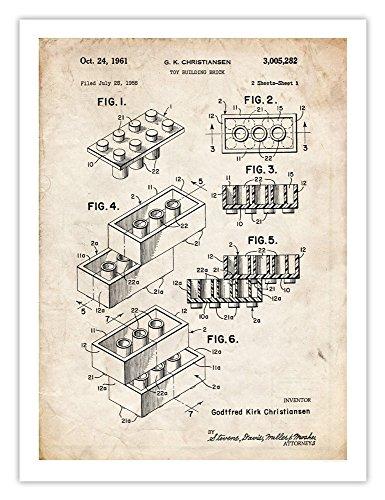 LEGO Toy Blocks 1961 Patent Art Print