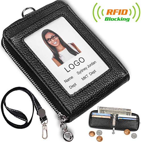 ACCTREND Badge Holder, Zipper Pocket - Leather Wallet with RFID Blocking, Black (AcctrendBWP)