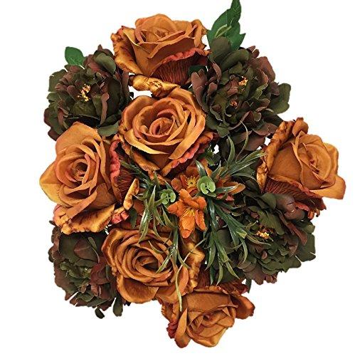 Silk Flower Garden Roses and Peonies Autumn Mix Bouquet 14 Heads 21
