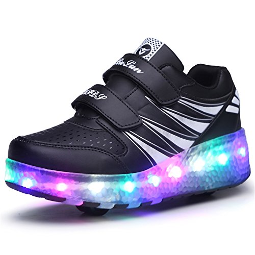 Ufatansy Uforme Kids Wheelies Lightweight Fashion Sneakers LED Light Up Shoes Single Wheel Double Wheels Roller Skate Shoes (3 M US=CN34, Black/Double Wheel) ()