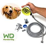 Wondurdog All-in-One Quality Dog Shower Kit   Water Sprayer Brush & Rubber Shield   8 ft Flexible Metal Hose, Shower Diverter, Suction Cup Holder   Shield Water from Dogs Ears, Eyes and Yourself!