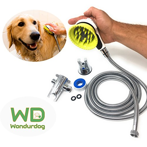 Shower Kit | WATER SPRAYER BRUSH and RUBBER SHIELD, 8 Foot Hose, Diverter, Suction Cup Holder | Quality Dog Wash | Dog Sprayer Shower Attachment | Massage and Brush while Bathing (Nice Holder)