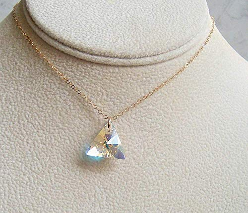 Aurora Borealis Triangle Crystal Gold Filled 18 Inch Necklace Made With Swarovski Gift Idea