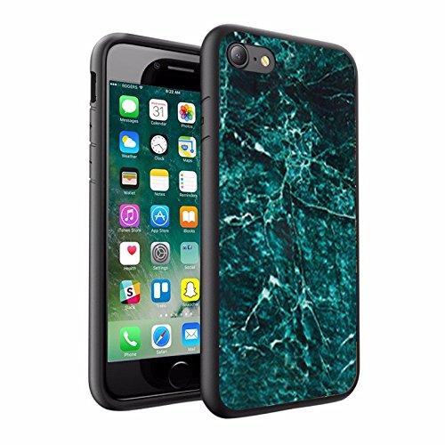 iPhone X Hülle, einzigartige Custom Design Prodective harte zurück dünner dünner Fit PC Bumper Case Kratzfeste Abdeckung für iPhone X - Dark Pine Green Marmor-Design 036