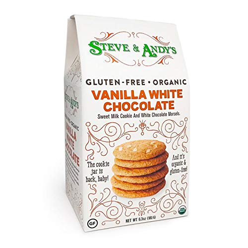 (Organic Vanilla White Chocolate Cookies, Gluten Free by Steve and Andy's -- Crispy and Crunchy Cookie, Non GMO, No Corn Syrup, No Tree Nuts, Kosher (Vanilla White Chocolate, 1 Box))