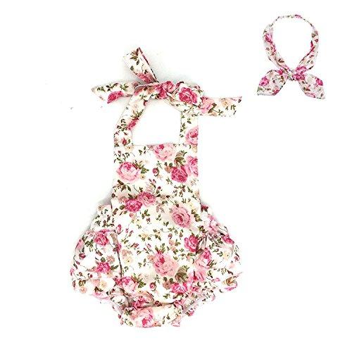 D.LIN Baby Girl's Ruffles Romper Dresses+Headband Summer Clothing Flower Headband 6 Months