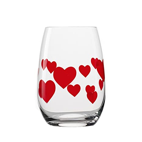 Amazon Com Stemless Wine Glasses Red Hearts Set Of 6