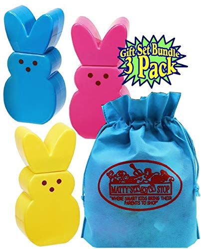 Little Kids Peeps Bubble Bunny Marshmallow Scented Bunnies Blue, Pink & Yellow Gift Set Basket Bundle with Bonus Matty's Toy Stop Storage Bag - 3 Pack