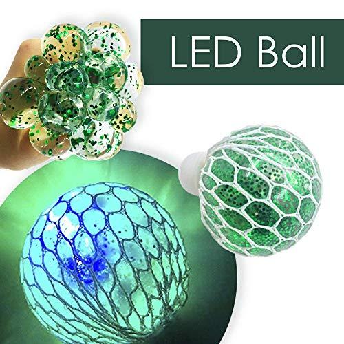 MorganProducts Set of Led Balls - Squishy Ball - Anti Stress for Kids - Mesh Ball - Grape Ball - Slime Stress Ball - Fidget Toys - Net Squishy Ball