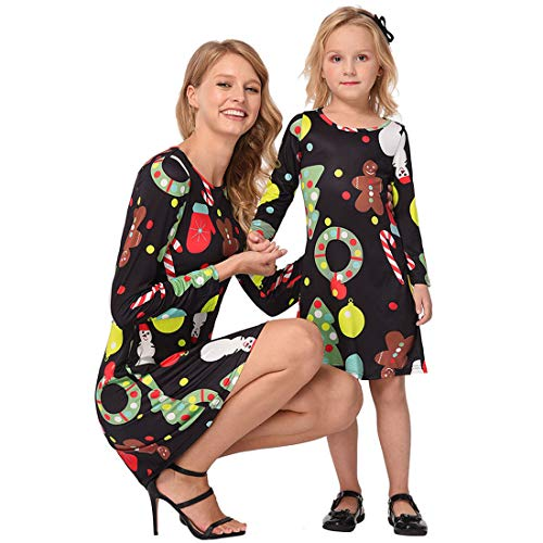Toponly Christmas Family Clothes Mommy&Me Cartoon Print Holiday Casual Dress -