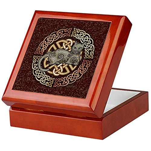 CafePress - Celtic Cat - Keepsake Box, Finished Hardwood Jewelry Box, Velvet Lined Memento Box (Hardwood Box With Lid compare prices)