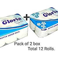 Koktail Gloria Ultra Soft 2 Ply Embossed Tissue Toilet Paper Roll (Total 2580 Pulls; 12 Rolls) Pack of 2 Box