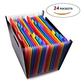 24 Pockets High Capacity Multicolour Accordian File Organizer Portable Stand Expandable Business Accordian Folders Plastic A4 Letter Size Expanding File Folder