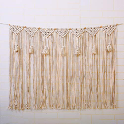 laddawan Macrame Wall Hanging Wall Tapestry Large Bohemian Wall Decoration for Wedding Backdrop Curtain Fringe Garland Banner Bedroom Living Room Gallery Baby Nursery 39
