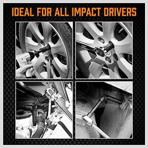 HORUSDY 1/2-Inch Drive Deep Impact Socket Set, 19-Piece 10mm - 24mm 6-Point Metric Drive Impact Sockets Set