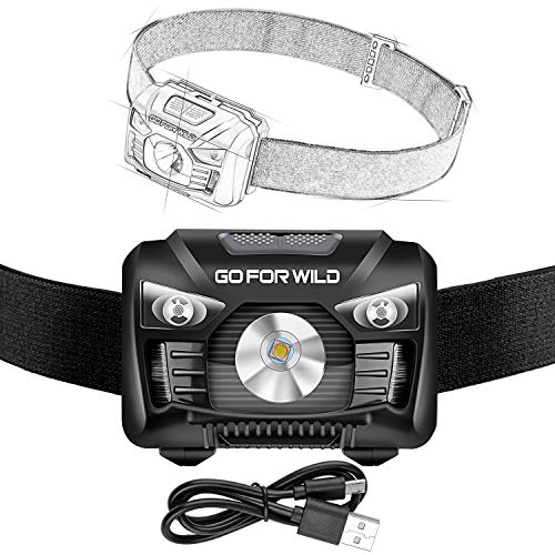 Rechargeable Headlamp, 500 Lumens White Cree LED Head Lamp Flashlight with Redlight and Motion Sensor Switch, Perfect for Running, Hiking, Lightweight, Waterproof, Adjustable Headband, 5 Display Modes