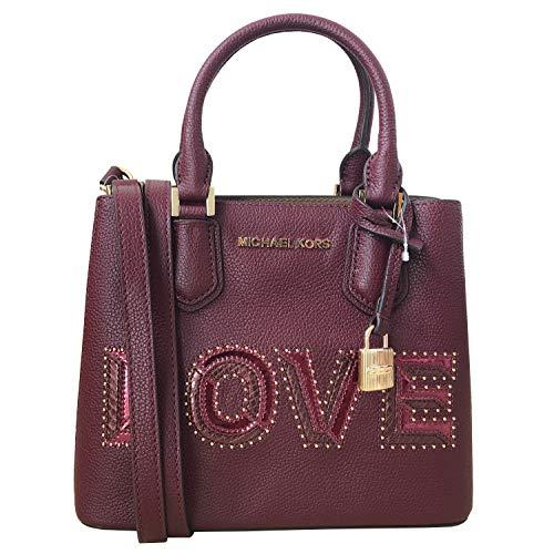Michael Kors Adele MD Leather Messenger Crossbody Bag (Love Merlot)