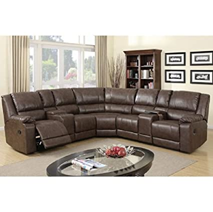 3 Pc Franklin Collection Two Tone Brown Bonded Leather Sectional Sofa With  Recliners And Drink Consoles