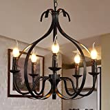 HQLCX Chandelier North American Style Living Room Iron Chandelier Personality Simple Pastoral Mediterranean Bedroom Restaurant Chandelier