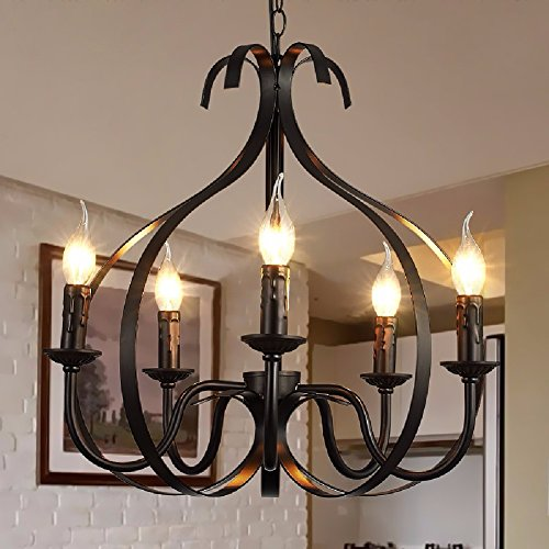 HQLCX Chandelier North American Style Living Room Iron Chandelier Personality Simple Pastoral Mediterranean Bedroom Restaurant Chandelier by HQLCX-Chandeliers