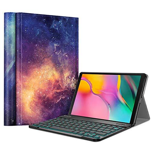 Fintie Tastatur Hülle für Samsung Galaxy Tab A 10.1 2019 SM-T510/T515 – Schutzhülle mit [Hintergrundbeleuchtung in 7…